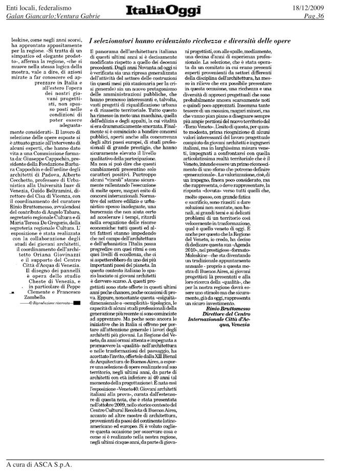 ITALIA OGGI presenta Veneto40 alla XXI Biennale di architettura a Buenos Aires (18.12.2009) shapeimage_2-4