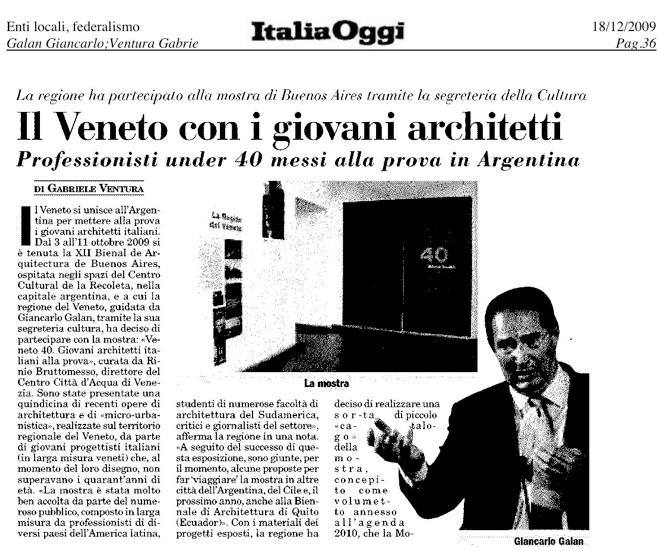 ITALIA OGGI presenta Veneto40 alla XXI Biennale di architettura a Buenos Aires (18.12.2009) shapeimage_4-2