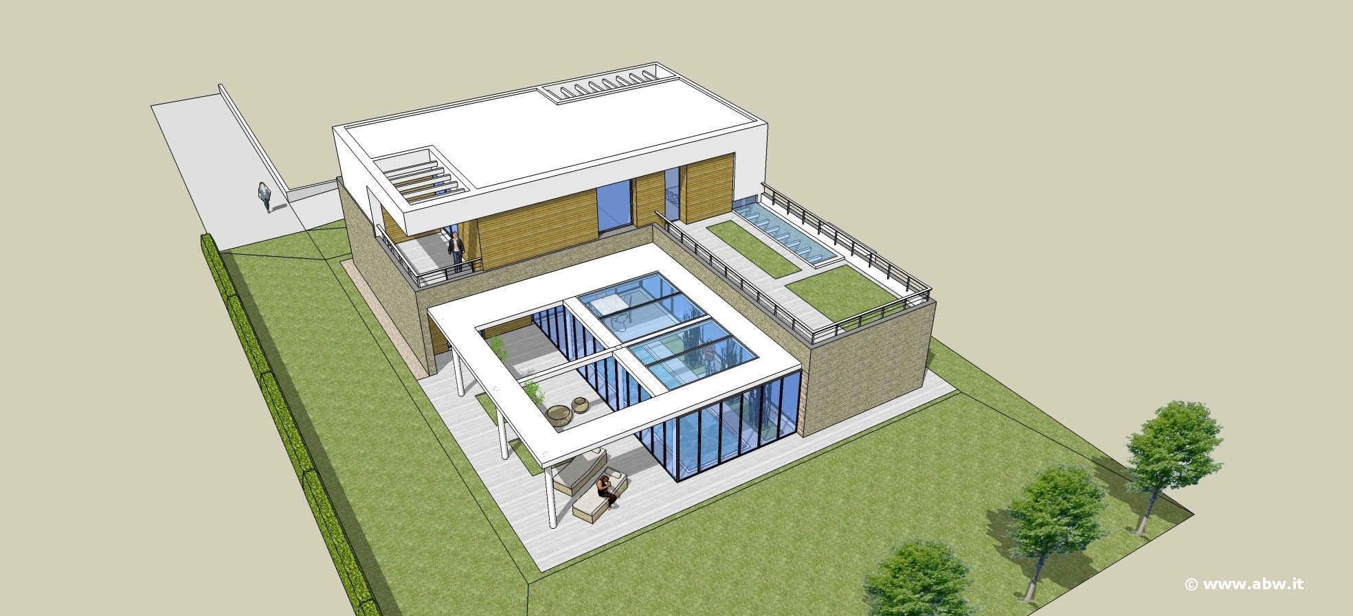 Villa Con Grande Patio E Piscina Abw